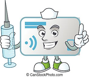 kort, smiley, sköta, nfc, injektionsspruta, tecken, tecknad film