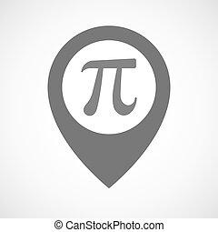 kort, symbol, isoleret, antal, marker, pi