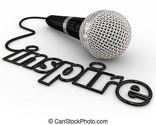 kort, tonika, słowo, wdychać, motivational, mikrofon, mówiący, adres, mowa