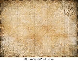 kort, udforskning, gamle, eventyr, baggrund