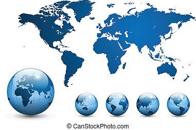kort, vector., verden