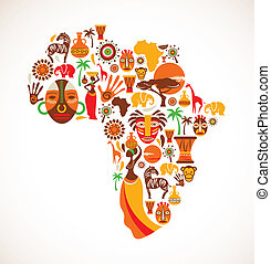 kort, vektor, afrika, iconerne