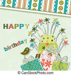 kort, vektor, hälsning, födelsedag, mall