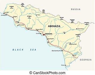 kort, vektor, vej, abkhazia
