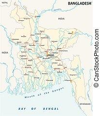 kort, vektor, vej, bangladesch