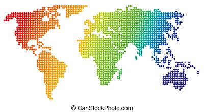 kort, verden