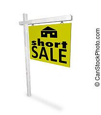 kort, verkoop, -, thuis, meldingsbord