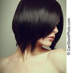 kort, vinhøst, hår, sort, model., kvindelig, sexet, portræt,...