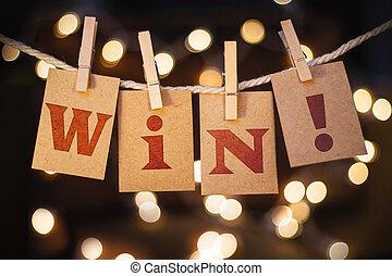 kort, vinna, begrepp, fäst ihop, lyse