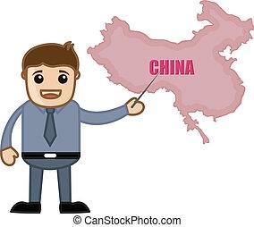 kort, viser, kina, mand