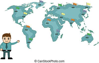 kort, viser, mand, flag, verden