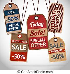 korting, etiketten, verkoop, verzameling, karton