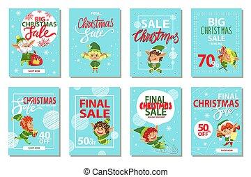 korting, kerstmis, verzameling, verkoop, bevordering