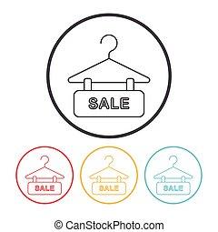 korting, lijn, verkoop, pictogram