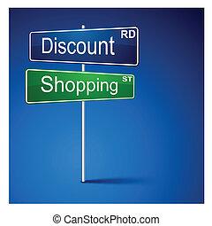 korting, shoppen , richting, straat, teken.