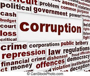 korupcja, polityczny, afisz
