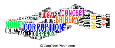 korupcja, tekst, chmura