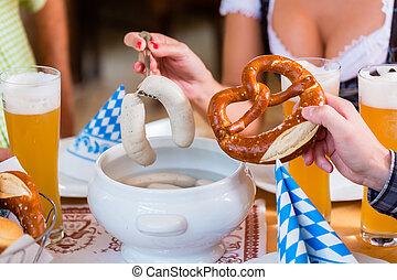 korv, äta, restaurang, bayersk, folk, kalvkött