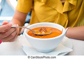 korv, äta, ungerska, restaurang, soppa, kvinnlig