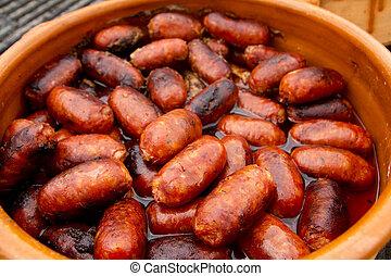korv, ohälsosam mat, spansk, chorizo, röd