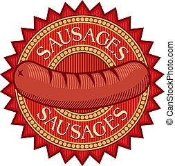 korvar, etikett, (sausage, sign)
