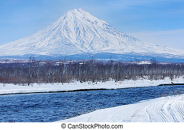 Koryaksky volcano on the Kamchatka Peninsula in the winter.