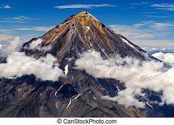 koryaksky, vulcão, ligado, a, kamchatka, península, russia.