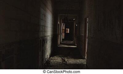 korytarz, apokaliptyczny, nieszczęśliwy, strach