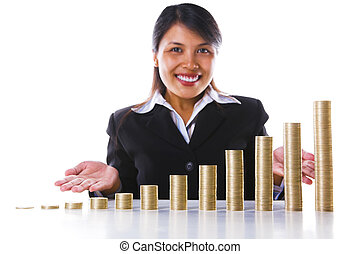 korzyść, monety, stogi, wzrost, przedstawiając, używając,...