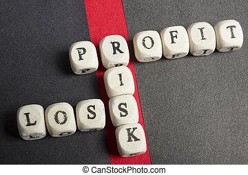 korzyść, strata, i, ryzyko, krzyżówka, kloce, na, stół., górny prospekt