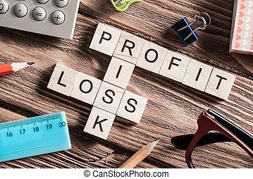 korzyść, strata, i, ryzyko, słówko, na, miejsce pracy, skupiony, od, drewniany, kostki