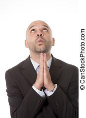 korzyści, modlący się, finansowy, handlowy, do góry, bóg, rozłączenie, zbyt, młode przeglądnięcie, pociągający, biznesmen, problem, wzrastać