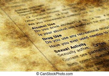 korzystać, alkohol, kształt, -, narkotyk, zdrowie, historia