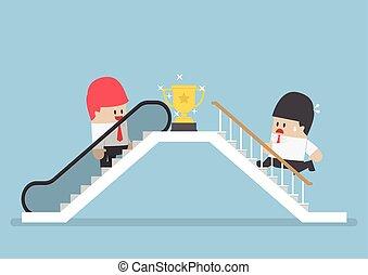 korzystać, jego, eskalator, powodzenie, rywal, biznesmen, wspinaczkowy, schodek