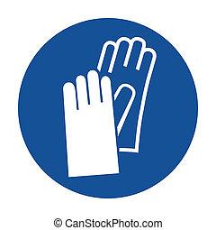 korzystać, rękawiczki, ochronny, piktogram, nosić
