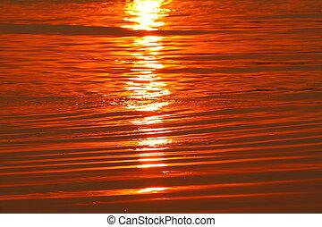 korzystać, zachód słońca, morze, tło, machać