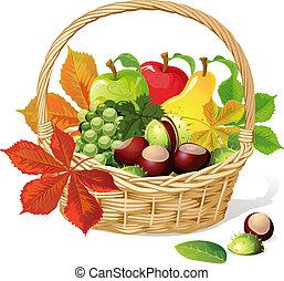 kosár, ősz, gyümölcs