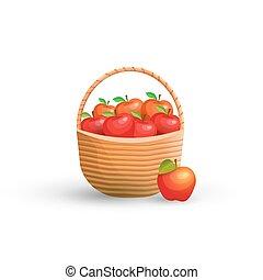 kosár, alma, piros