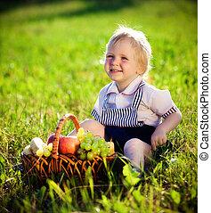 kosár, fiú, kevés, gyümölcs