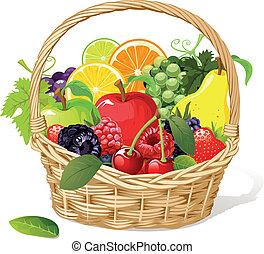 kosár, gyümölcs