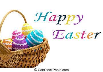 kosár, ikra, felett, húsvét, fehér