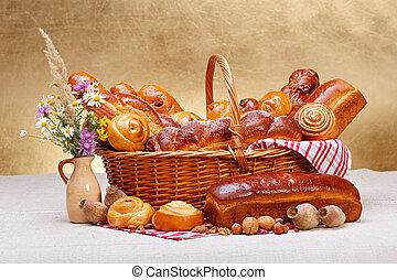 kosár, kellemes, pékség, termékek