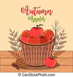 kosár, poszter, vesszőfonás, ősz, alma