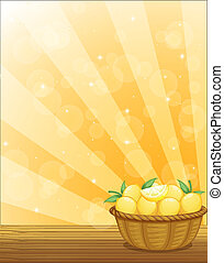 kosár, tele, citromfák