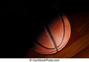 kosárlabda, öreg, emelet, fény, tornaterem, drámai, closeup