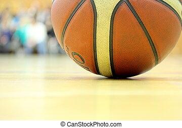 kosárlabda, alatt, egy, tornaterem, noha, látogató