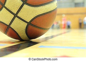kosárlabda, alatt, egy, tornaterem
