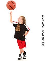 kosárlabda, büszke, játékos, fonás, labda, tapogat, gyermek...