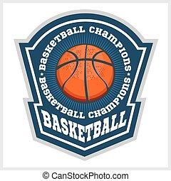kosárlabda, bajnokság, -, vektor, embléma, helyett, póló