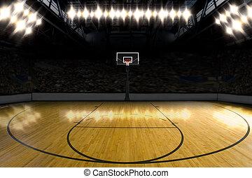 kosárlabda, court.